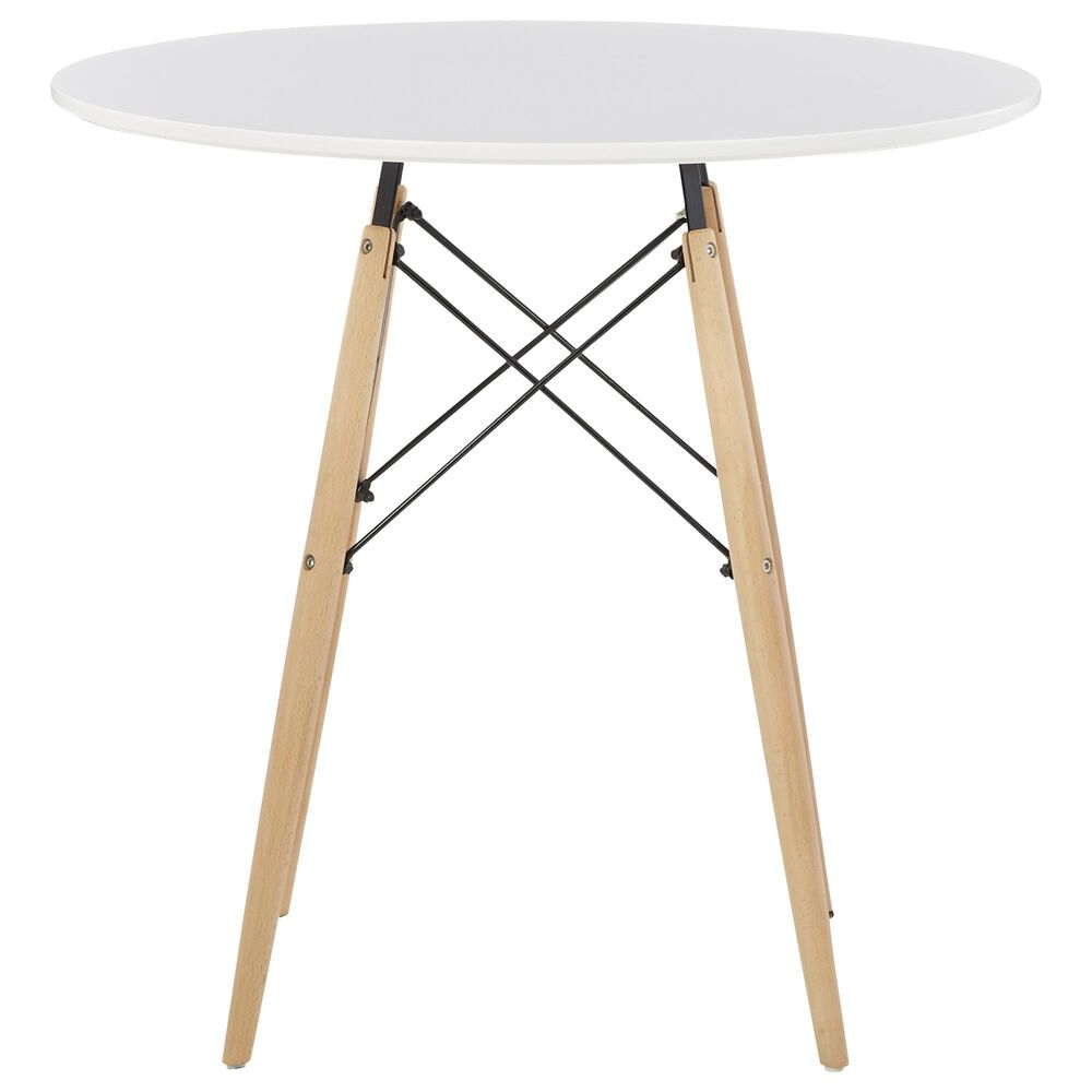 Signature Design by Ashley Jaspeni Round Dining Table in White and Natural, , large