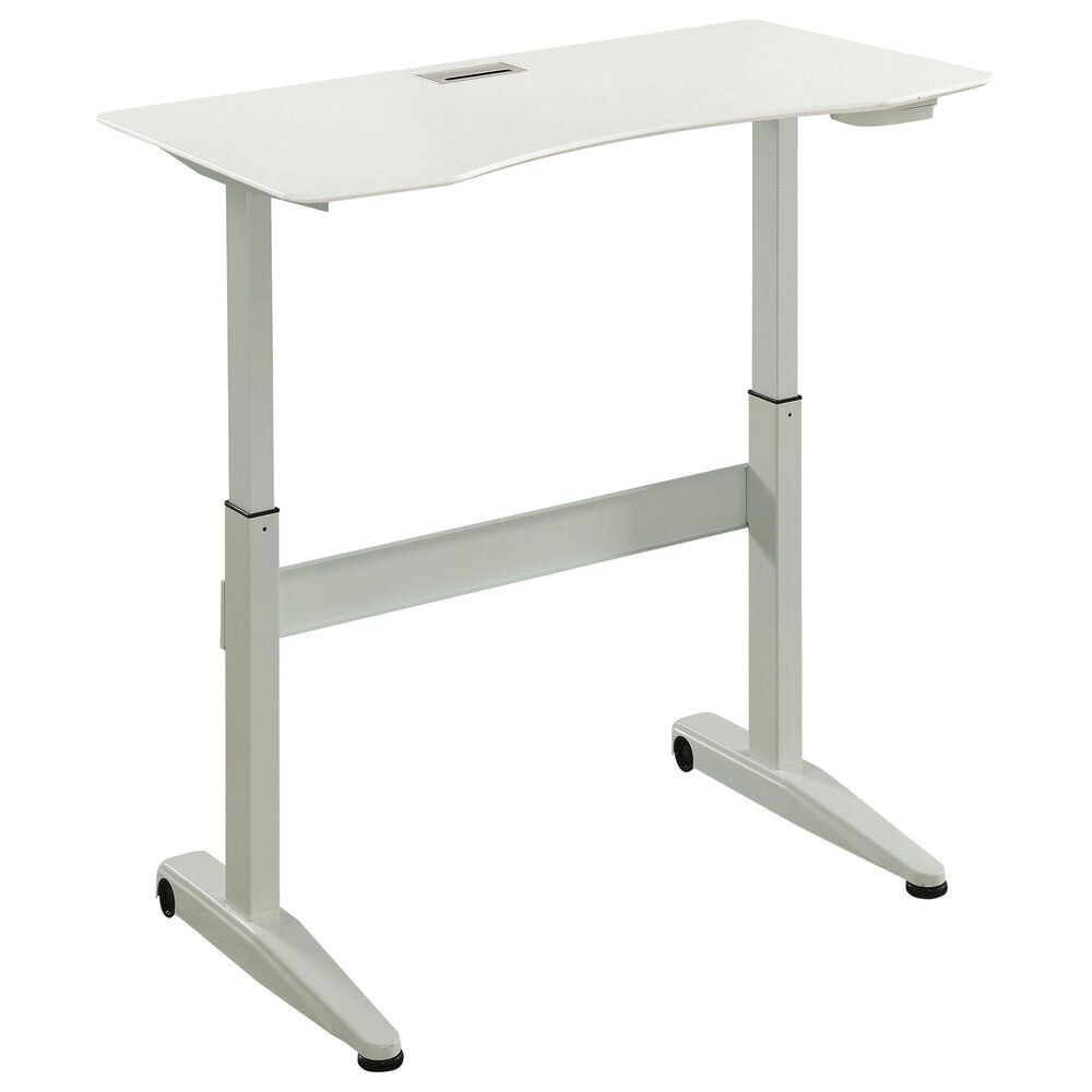 Furniture of America Pope Small Lift Computer Table in White, , large