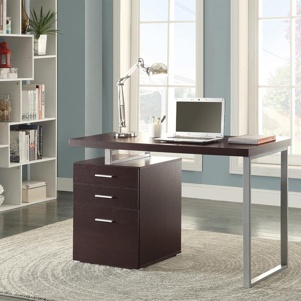 Pacific Landing Hilliard Writing Desk with File Drawer in Cappuccino, , large