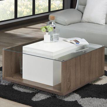 Furniture of America Nova Glass Top Coffee Table in White, , large