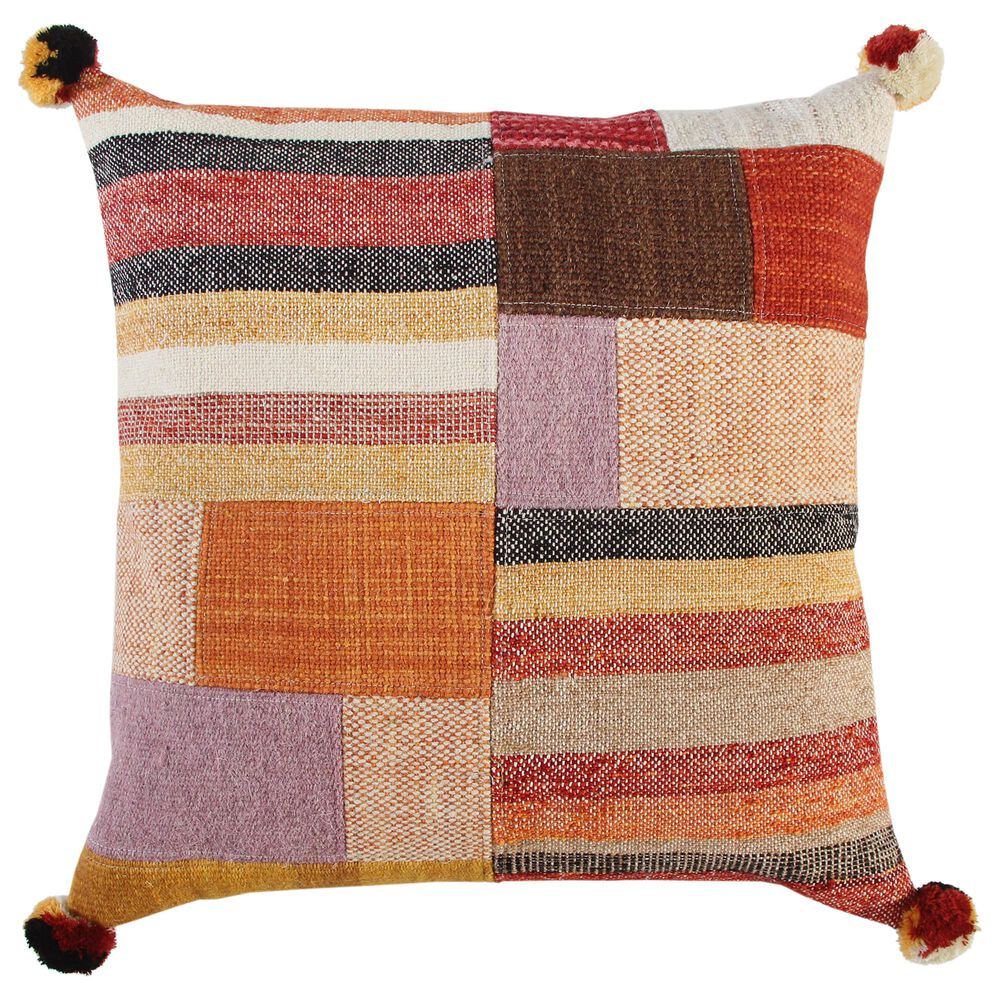 """Rizzy Home Patchwork 20"""" Pillow in Multicolor , , large"""