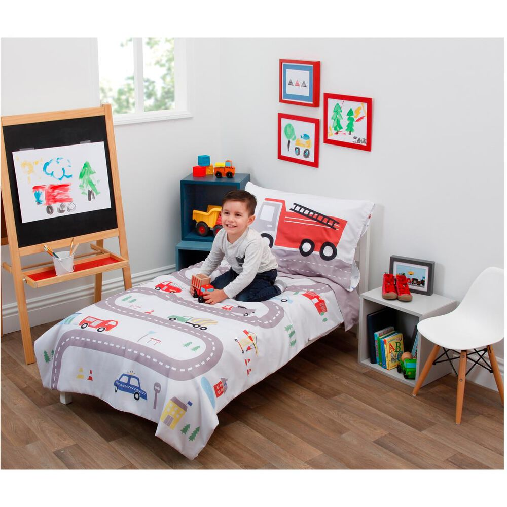 Crown Crafts Road Trip 4 PC Toddler Bed Set, , large
