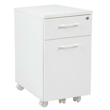 OSP Home Prado Mobile File in White with Hidden Drawer and Castors, , large