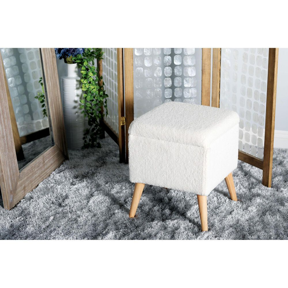 """Maple and Jade 19"""" x 15"""" Storage Stool in White, , large"""