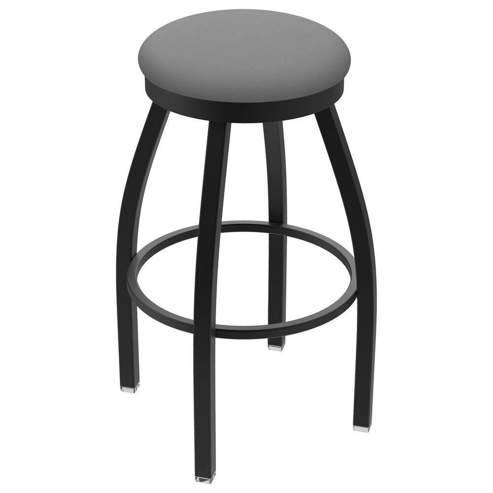 """Holland Bar Stool 802 Misha 25"""" Swivel Counter Stool with Black Wrinkle and Canter Folkstone Grey Seat, , large"""