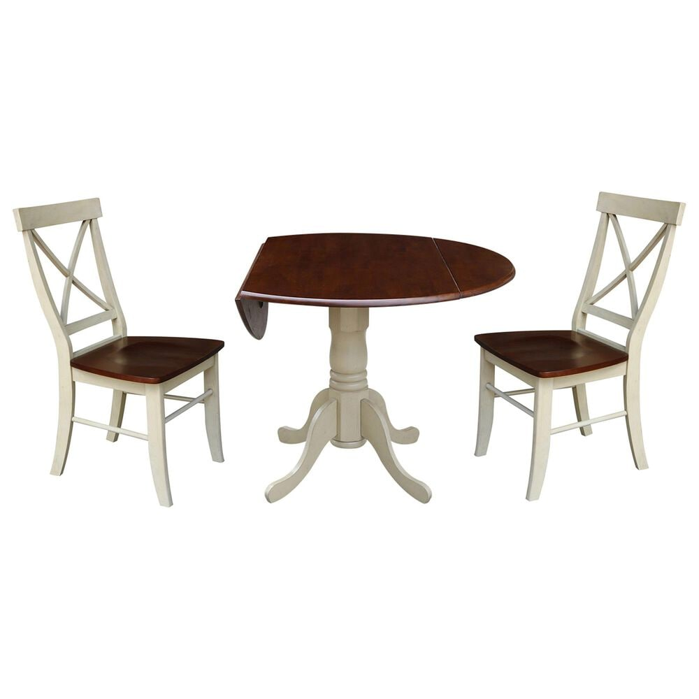 International Concepts Transitional 3-Piece Dining Set in Almond/Espresso, , large
