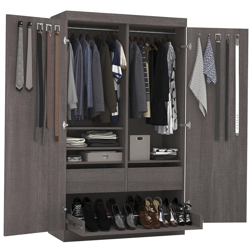 Bestar Pur Pullout Armoire In Bark Gray, , large