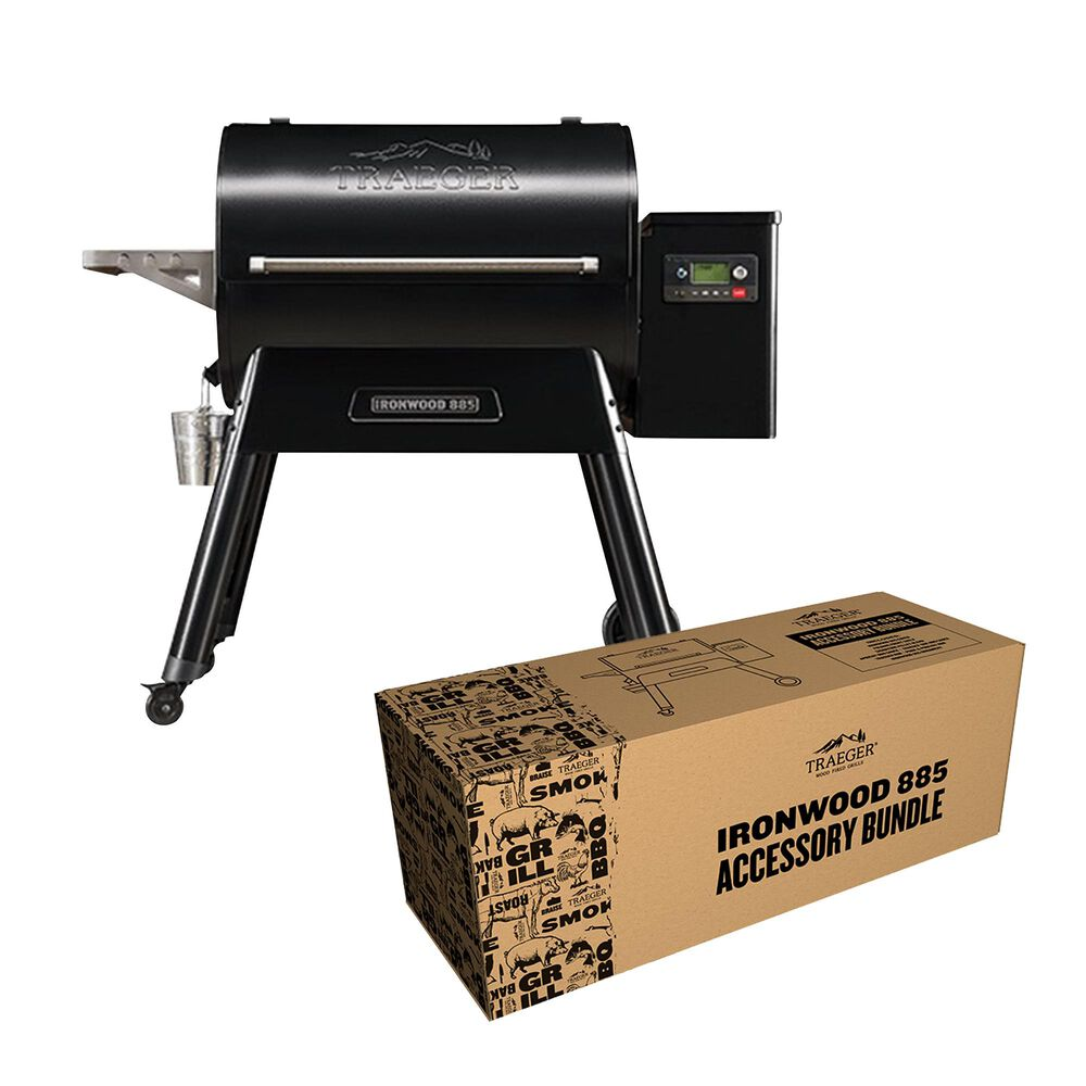 Traeger Grills Ironwood Series 885 Pellet Grill in Black + 885 Accessory Bundle, , large
