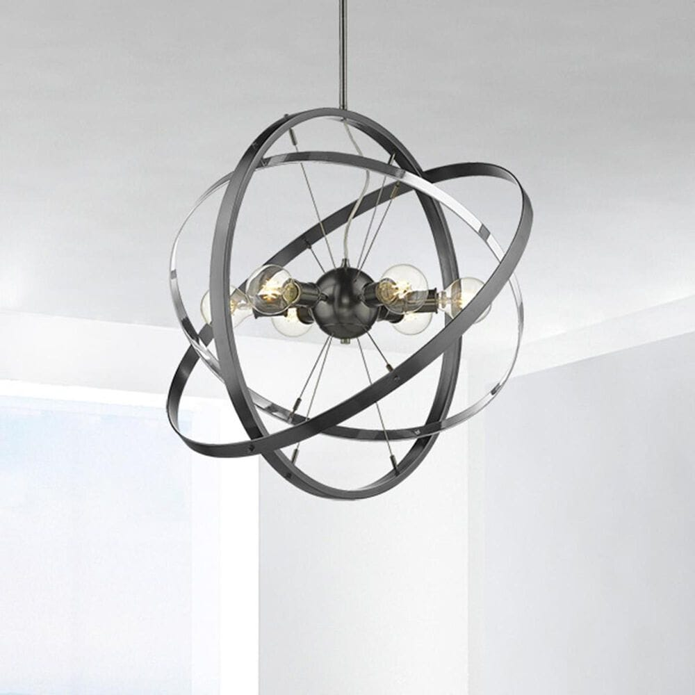 Golden Lighting Atom 6-Light Chandelier in Black Brushed Steel with Chrome and Black Brushed Steel Accent Rings, , large