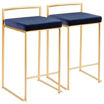 Lumisource Fuji Stackable Counter Stool in Blue/Gold (Set of 2), , large
