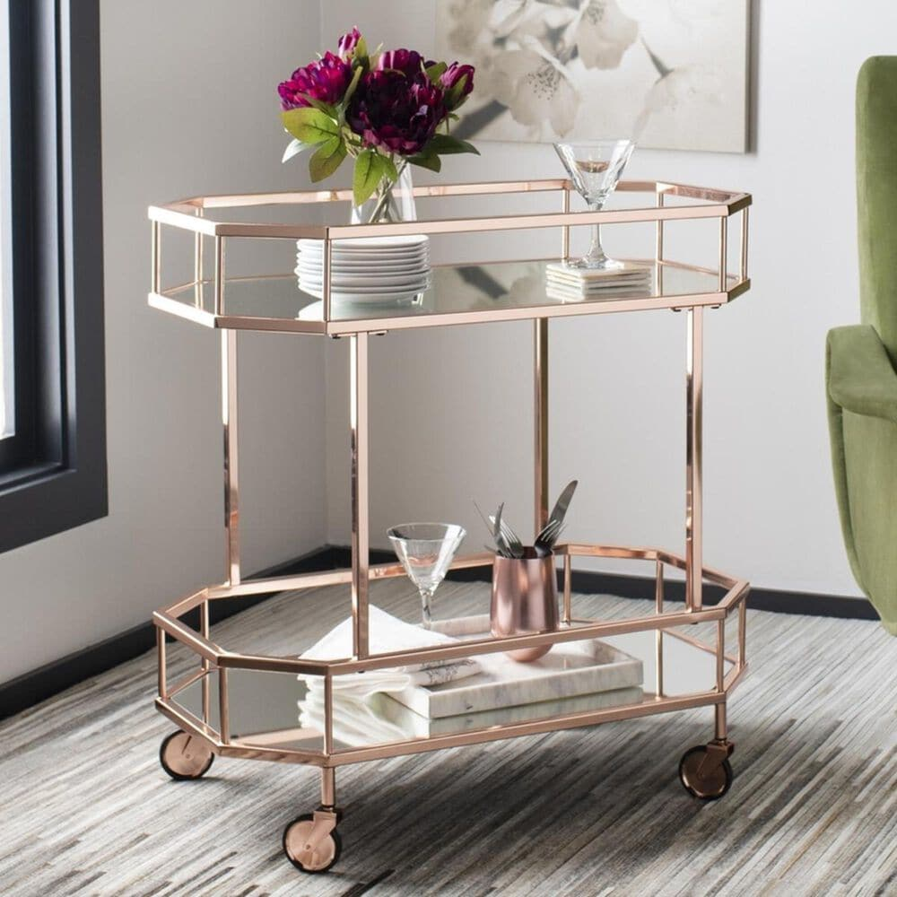 Safavieh Silva 2 Tier Octagon Bar Cart in Rose Gold and Mirror, , large