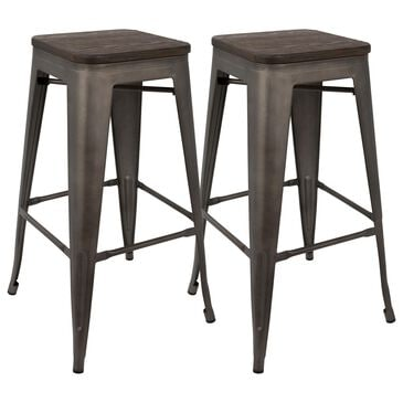 Lumisource Oregon Stackable Barstool in Antique/Espresso (Set of 2), , large