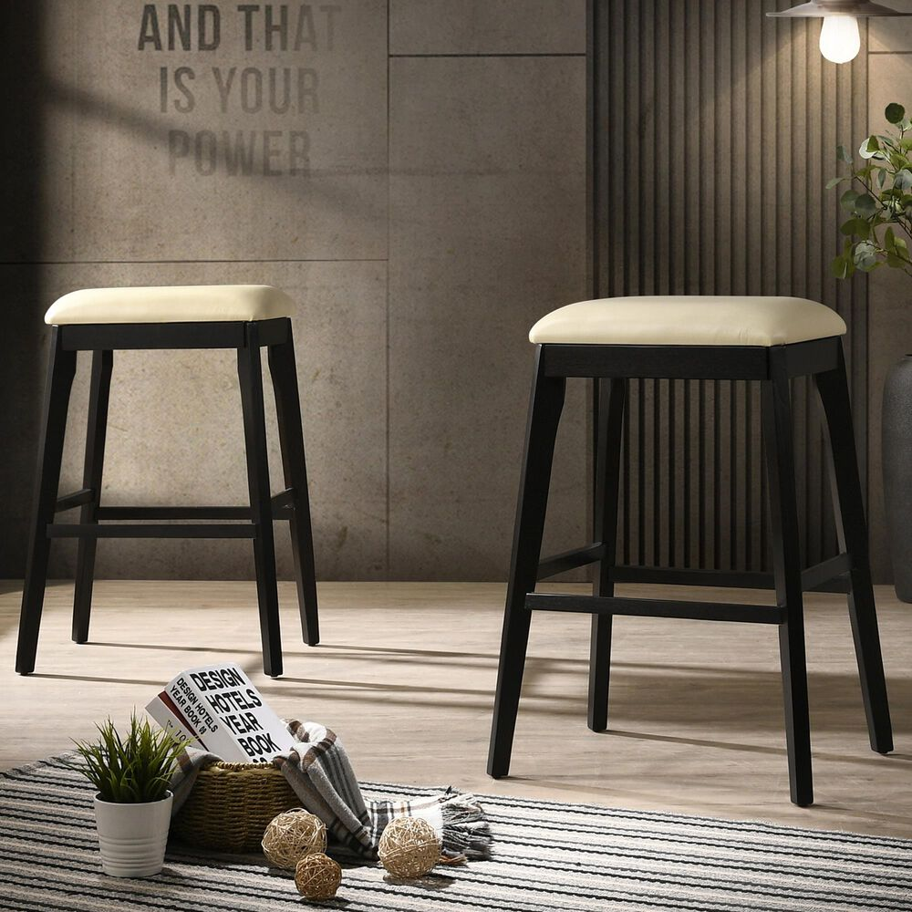 """Carolina Chair and Table Mirabelle 30"""" Barstool in Cream/Espresso (Set of 2), , large"""