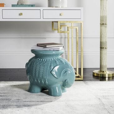Safavieh Ceramic Elephant Stool in Light Blue, , large