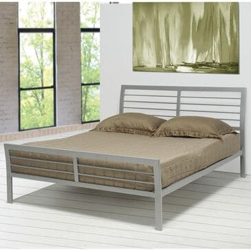 Pacific Landing Stoney Creek Full Slat Frame Iron Bed in Silver, , large