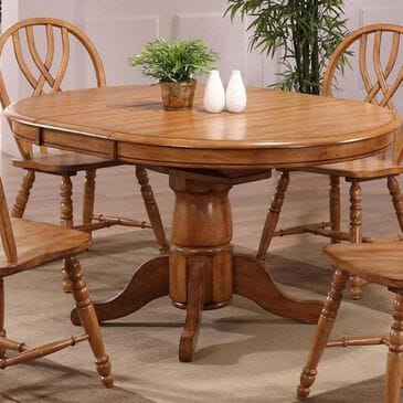 Radius Missouri Single Pedestal Dining Table in Rustic Oak - Table Only, , large