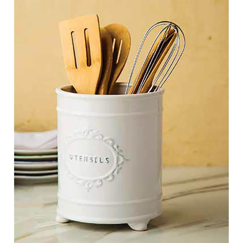 """Home Essentials & Beyond 8"""" Footed Round Utensil Crock with Embossed Frame in White, , large"""