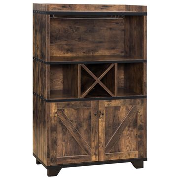 Furniture of America Oconnell Wine Cabinet in Distressed Wood, , large