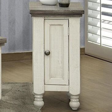 Fallridge Stone Chairside Table in Off White and Gray, , large