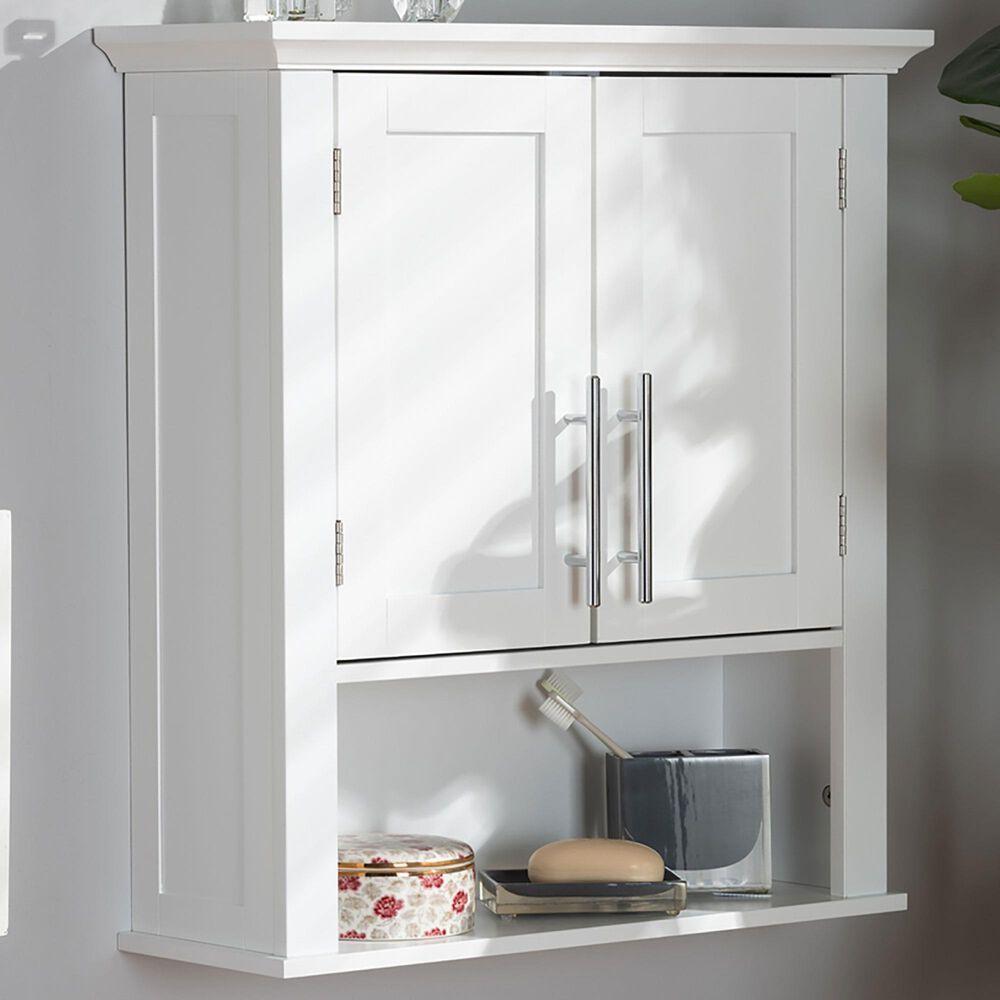 Baxton Studio Turner 2-Door Bathroom Wall Cabinet in White, , large
