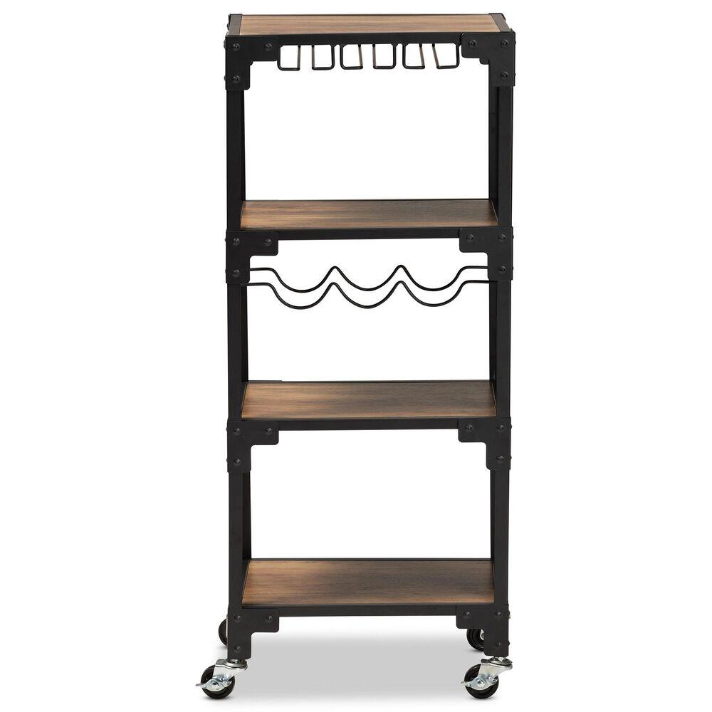 Baxton Studio Victor 4-Tier Mobile Wine Cart in Walnut/Black, , large
