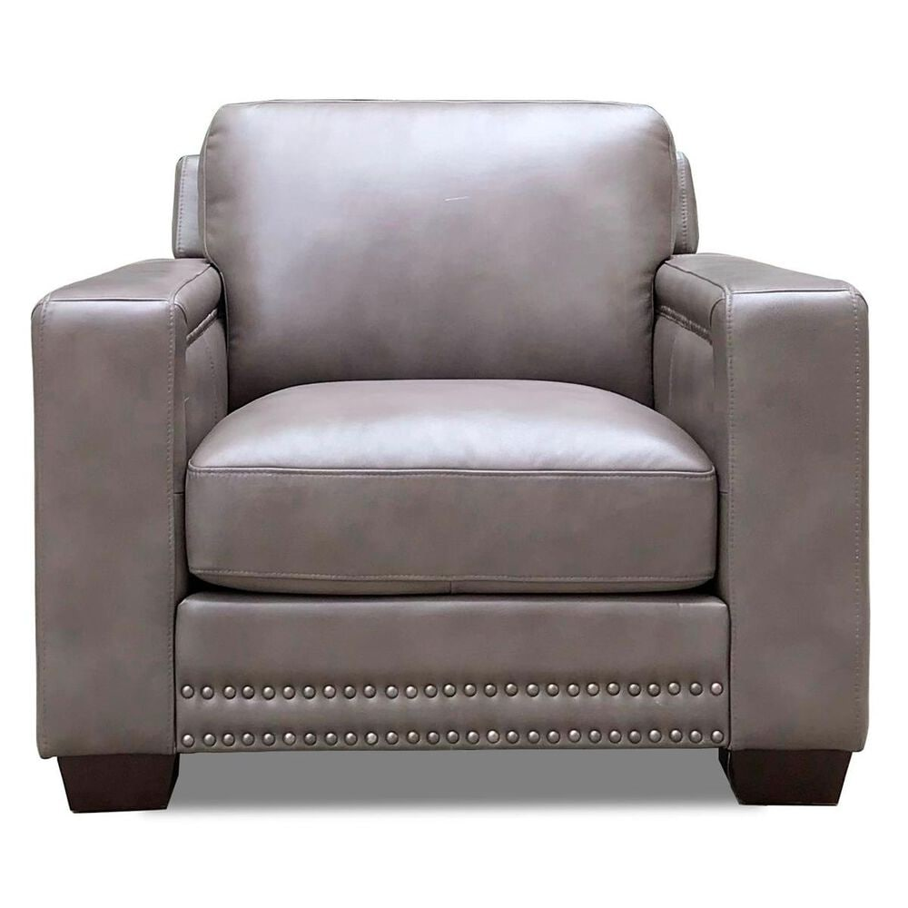 Back Nine Leather Belmont Leather Chair in Chatham Gray, , large