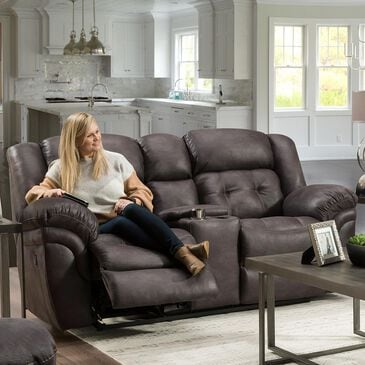 HomeStretch Reclining Console Loveseat in Steel Gray, , large