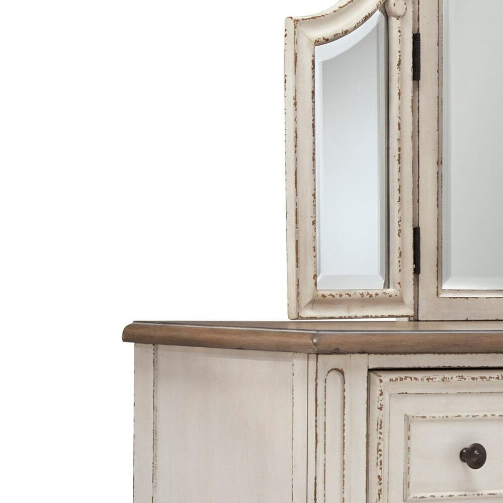 Signature Design by Ashley Realyn Vanity with Mirror and Stool in Chipped White and Brown, , large
