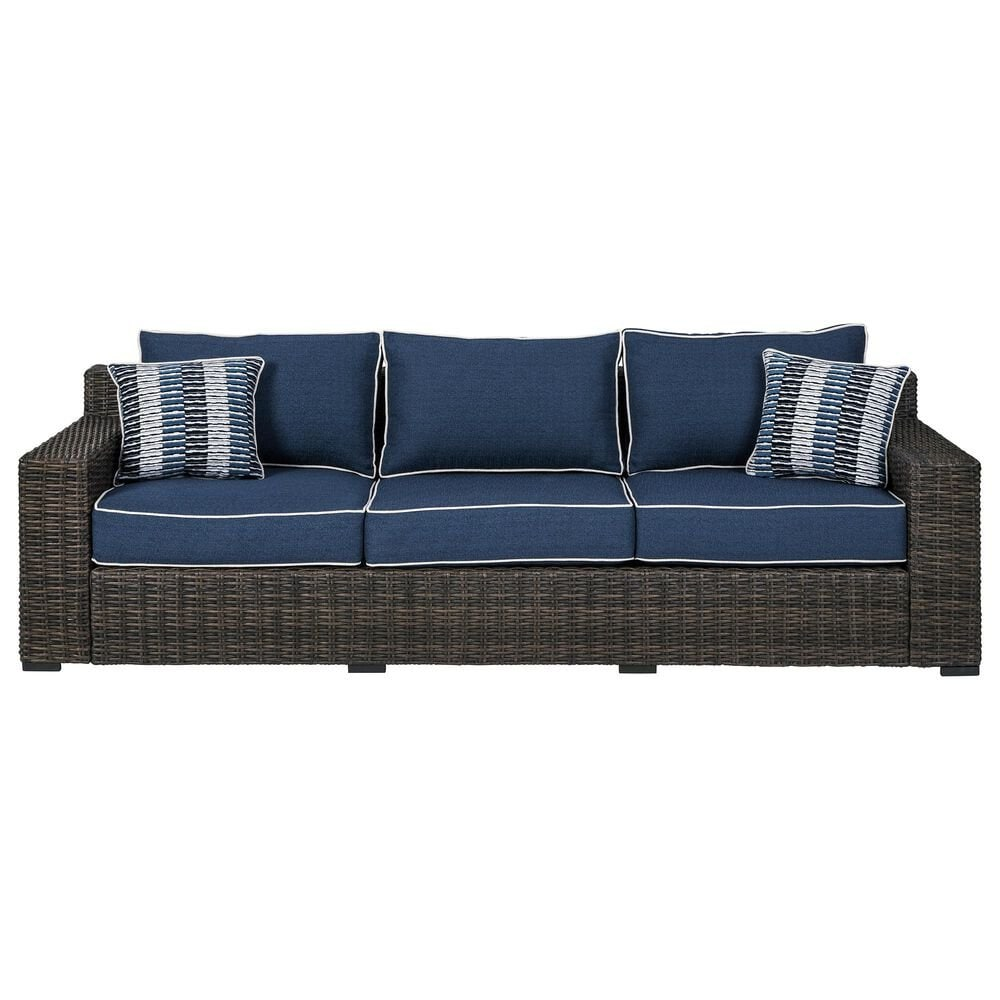 Signature Design by Ashley Grasson Lane Sofa with Blue Cushion in Brown, , large