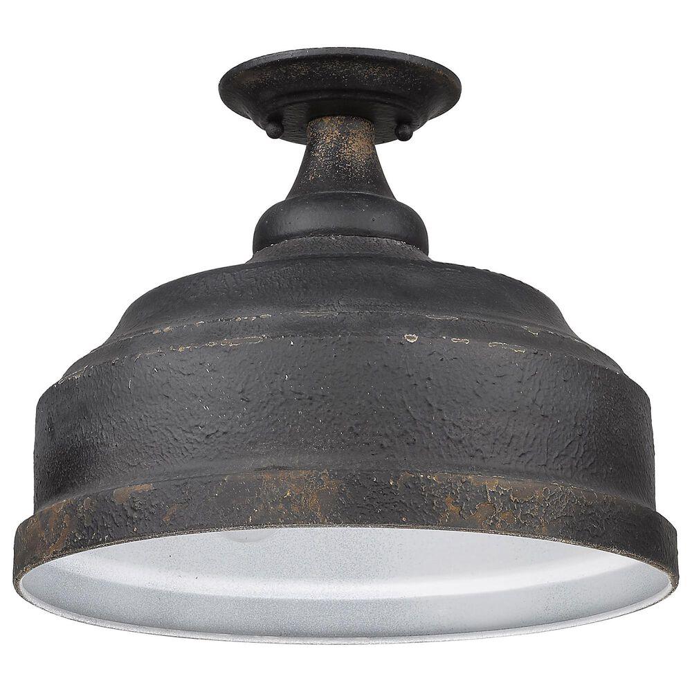 Golden Lighting Keating Semi-Flush in Antique Black Iron, , large