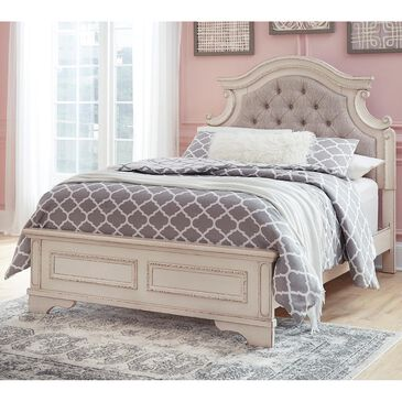 Signature Design by Ashley Realyn Full Upholstered Bed in Chipped White, , large