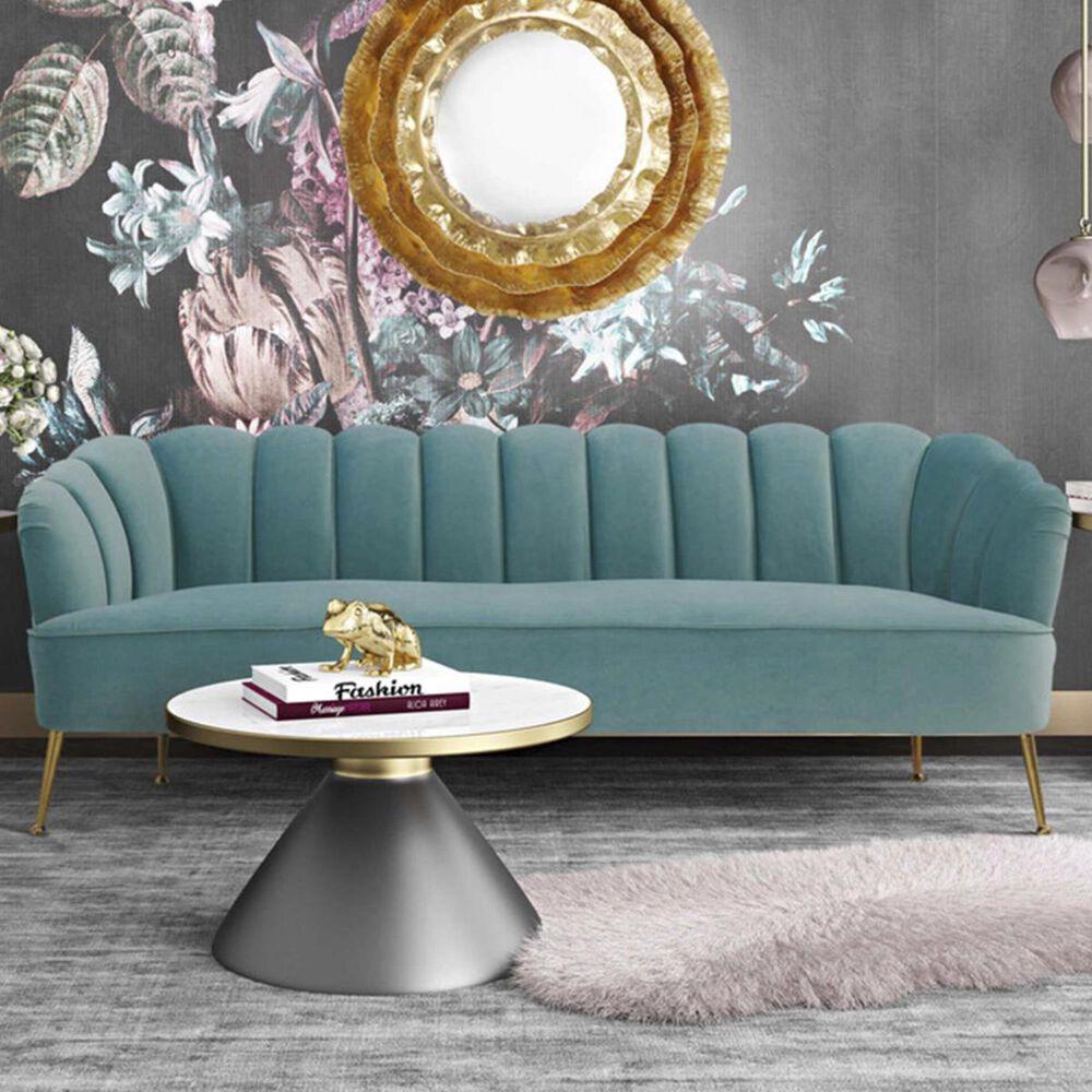 Tov Furniture Daisy Sofa in Sea Blue Velvet, , large