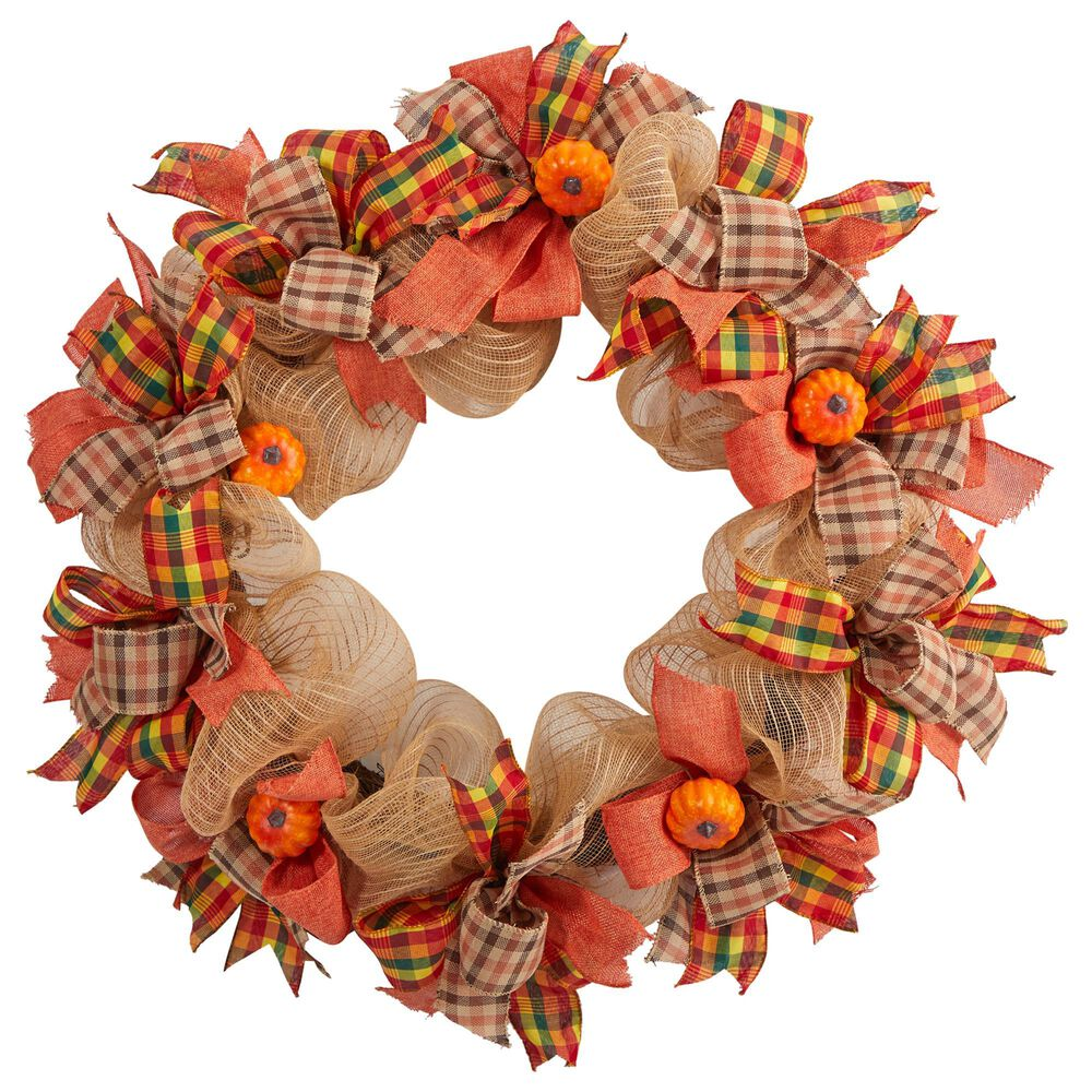Nearly Natural Inc 30in. Autumn Pumpkin with Decorative Bows Artificial Fall Wreath, , large