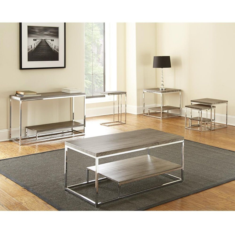 Crystal City Lucia Chairside End Table in Driftwood Grey and Chrome, , large