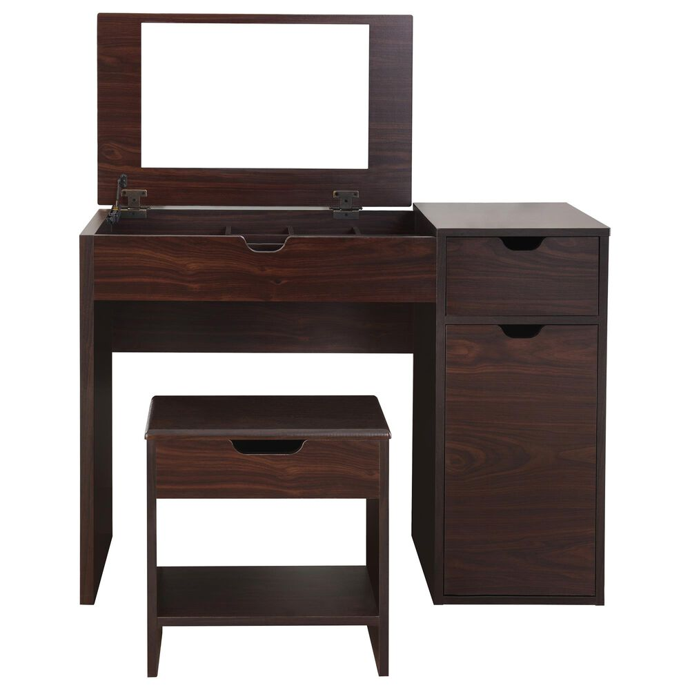Furniture of America Patel 3 Piece Vanity Set in Walnut, , large