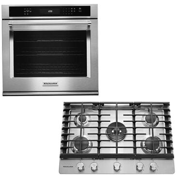 """KitchenAid 2-Piece Kitchen Package with 30"""" Single Wall Oven and Gas Cooktop in Stainless Steel, , large"""