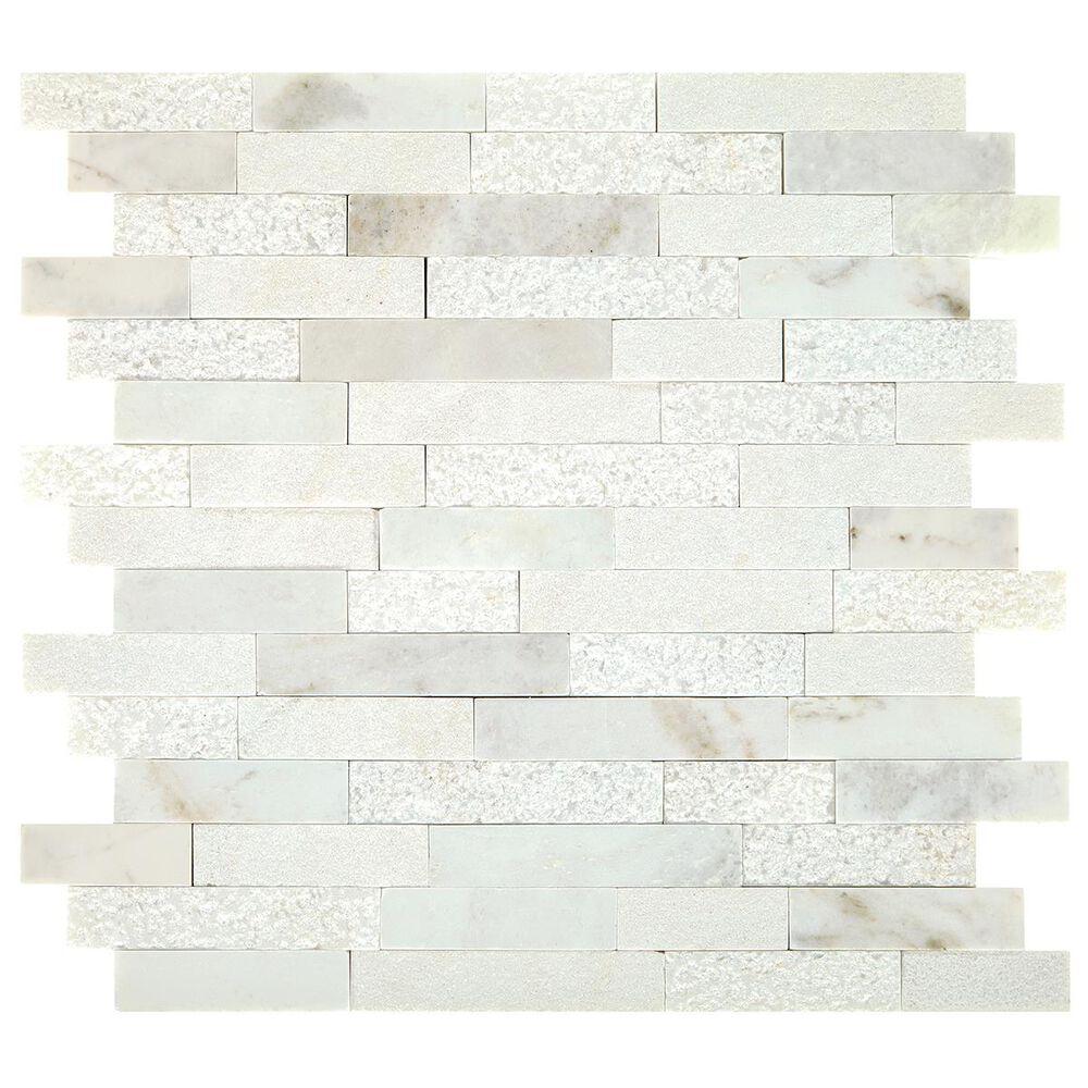 "Dal-Tile Minute Mosaix Daphne White 12""x13"" Linear Random Mosaic Sheet, , large"