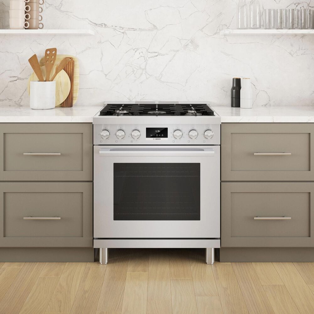 """Bosch 30"""" Freestanding Dual Fuel Range in Stainless Steel, , large"""