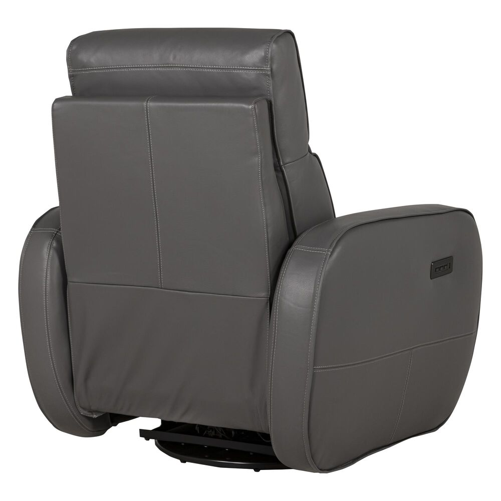 Natuzzi Editions Altruista Triple Motion Leather Swivel Recliner in Steel Gray Leather , , large