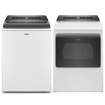 Whirlpool 4.8 Cu. Ft. Top Load Washer + 7.4 Cu. Ft. Front Load Electric Dryer in White, , large