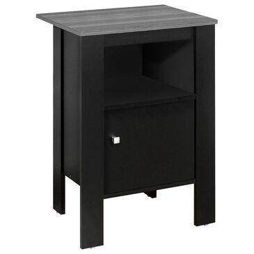 Monarch Specialties 1 Door Nightstand with Storage in Black, , large
