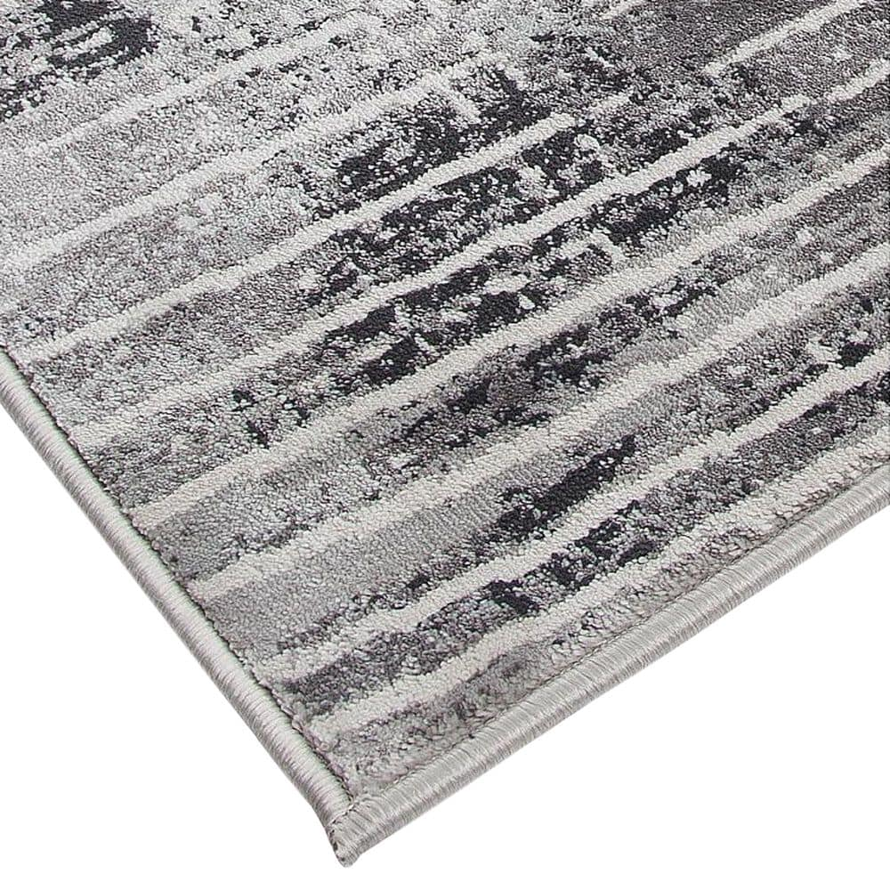 Harounian Rugs Sunbrella S10-13D 8' x 11' Silver and Black Area Rug, , large