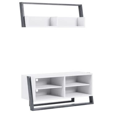 Furniture of America Friedman 2-Piece Entertainment Center in White and Gray, , large