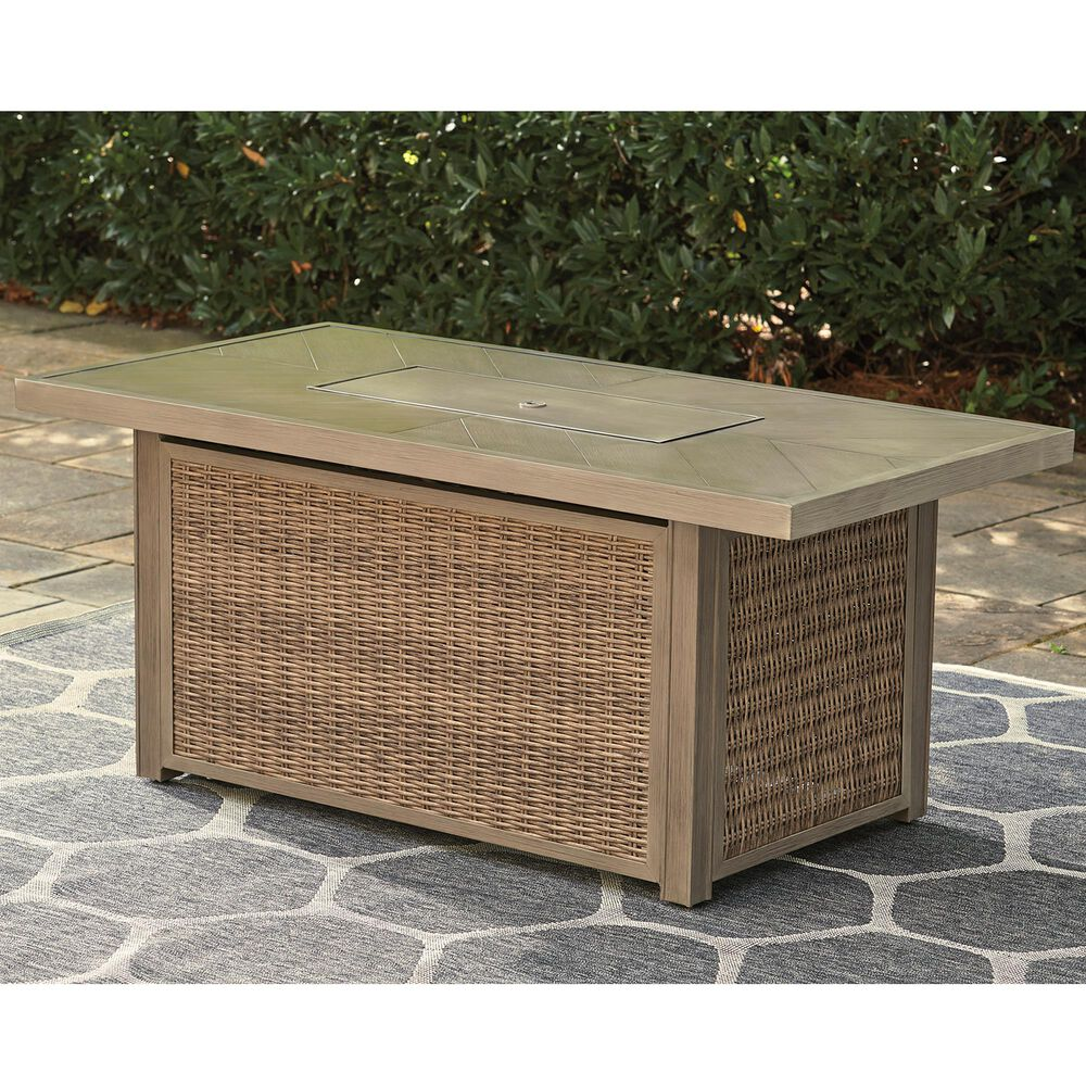 Signature Design by Ashley Beachcroft Rectangular Fire Pit Table in Beige, , large