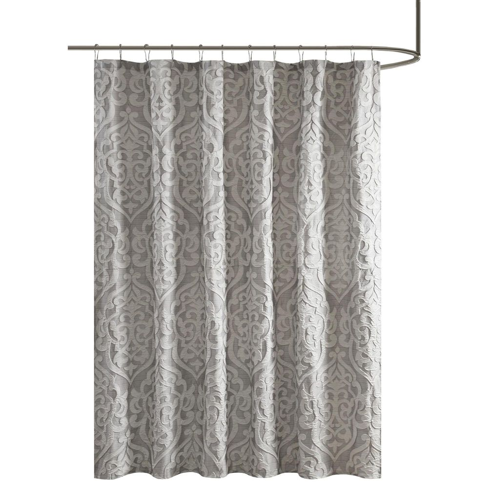 "Hampton Park Odette 72"" Shower Curtain in Silver, , large"
