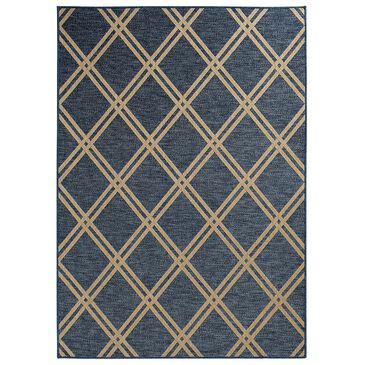 """Trisha Yearwood Rug Collection Gather Minot TYWD 6'7"""" x 9'6"""" Cobalt and Natural Outdoor Rug, , large"""