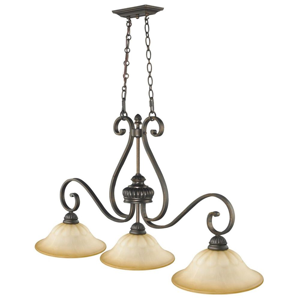 Golden Lighting Mayfair 3-Light Linear Pendant in Leather Crackle, , large