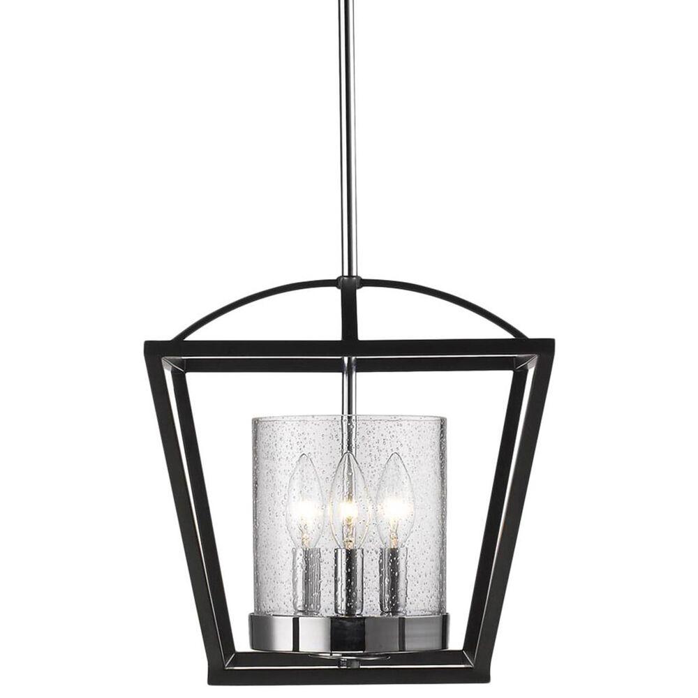 Golden Lighting Mercer Semi-Flush in Black with Seeded Glass, , large