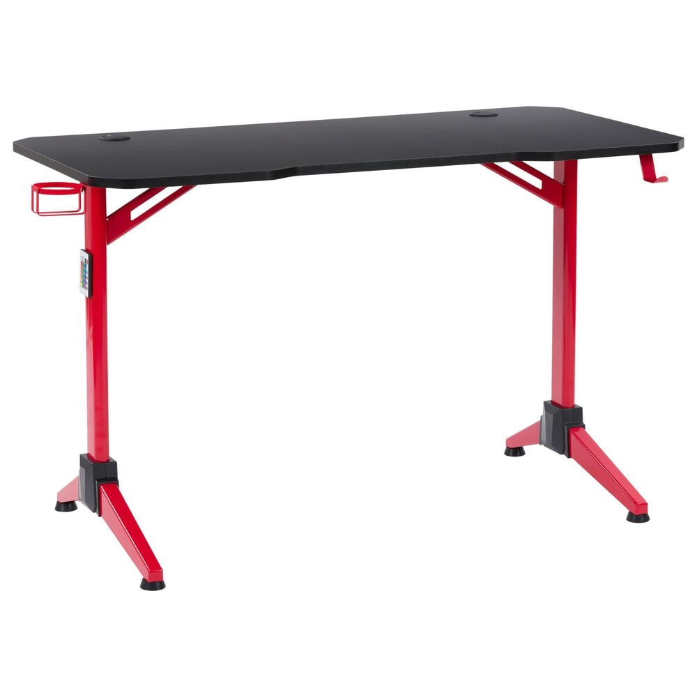 CorLiving Conqueror Gaming Desk with LED Lights in Black, , large