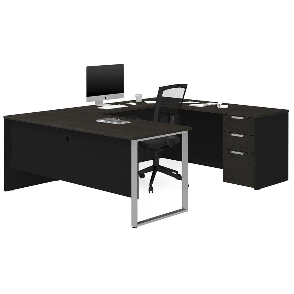 Bestar Pro-Concept Plus U-Desk in Deep Grey and Black, , large
